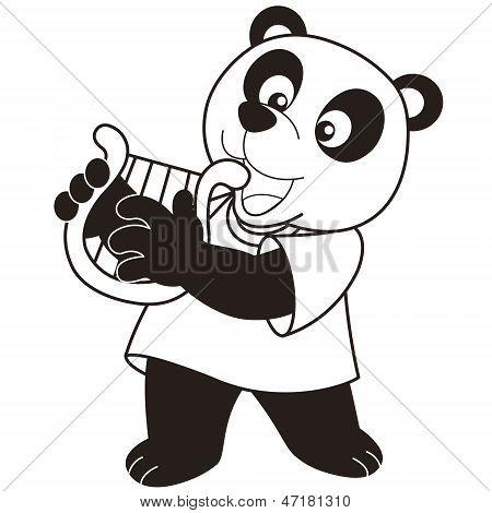 Cartoon Panda Playing A Harp