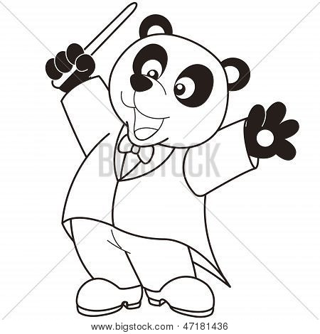 A Cartoon Panda music conductor.black and white poster