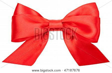 Beautiful Red Bow Isolated On White Background