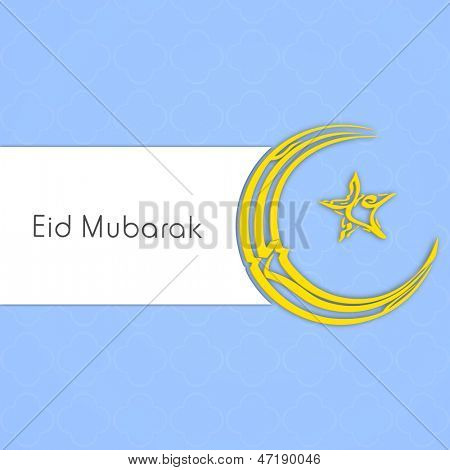 Arabic Islamic calligraphy of golden text Eid Mubarak on skyblue and white background.