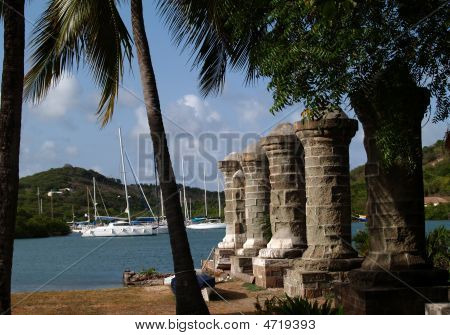 Old Sail Loft Pillars In English Harbour In Antigua Barbuda