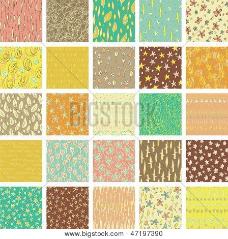 Set of 25 Different Seamless Patterns (repetitive) in colours. Illustration is in eps8 vector mode. poster