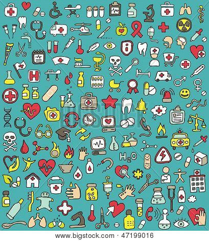 Big Doodled Medicine And Health Icons Collection