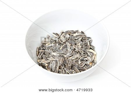 Sunflower seeds isolated on a white studio background. poster