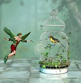 a fairy freed a bird out of the cage 3d Computer Graphics poster