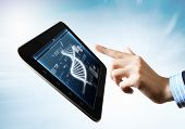 DNA helix abstract background on the tablet screen. Illustration poster