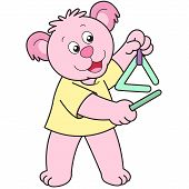 Cartoon Bear playing a triangle. vector illustration. poster