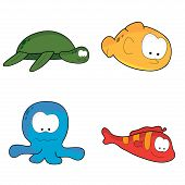 four cute isolated sea water cartoon characters creatures poster