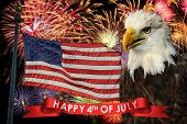 Fireworks display during fourth of July with American flag and bald eagle poster