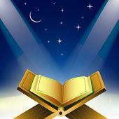 Open Islamic religious holy book Quran Shareef in shiny moonlight night. poster