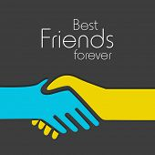Happy Friendship day background with handshake and text Best Friends Forever. poster