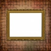 Picture gold frame with decorative victorian pattern poster