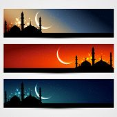 vector set of islamic headers poster
