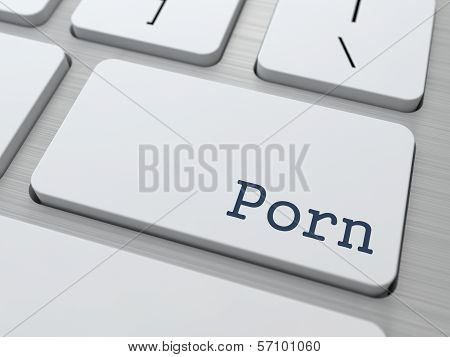 Porn Button on White Computer Keyboard.