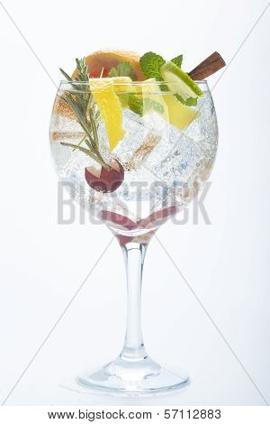 Salad Fruit Gin Tonic Isolated Over White