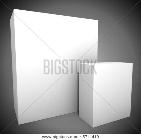 Two empty white boxes