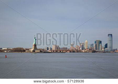 View Of Statue Of Liberty And Manhattan
