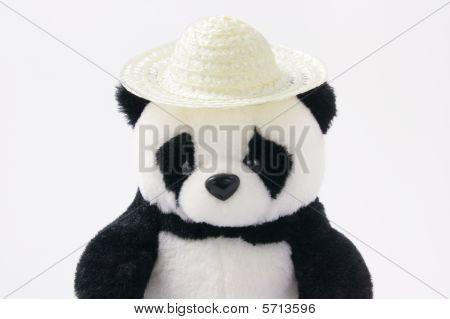 Toy Panda Wearing Straw Hat