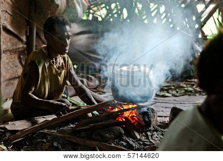 Papuan Woman Cooks Food.