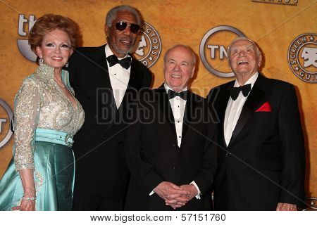 Tova Borgnine and Morgan Freeman, Tim Conway and Ernest Borgnine at the 17th Annual Screen Actors Guild Awards Press Room, Shrine Auditorium, Los Angeles, CA. 01-30-11