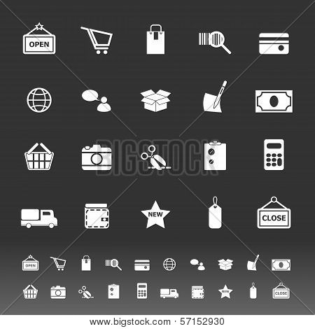 Shopping Icons On Gray Background