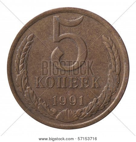 Old Soviet Five Copecks Coin Isolated On White