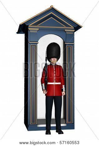 Royal British Guardsman Near Guard Box