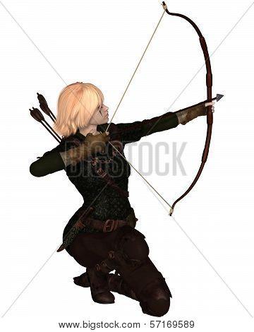 Blonde Female Archer Kneeling