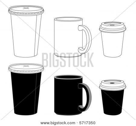 Outline Template Paper Glass And Mug