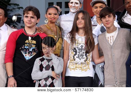 Prince Jackson, Blanket Jackson, Paris Jackson, Justin Bieber at Michael Jackson Immortalized at Grauman's Chinese Theatre, Hollywood, CA 01-26-12