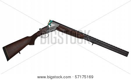 Opened Double-barrelled Hunting Gun With Two Green Cartridges Isolated On White