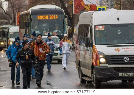 Samara, Russia - December 25: Olympic Torch  In Samara On December 25, 2013 In Samara, Russia.