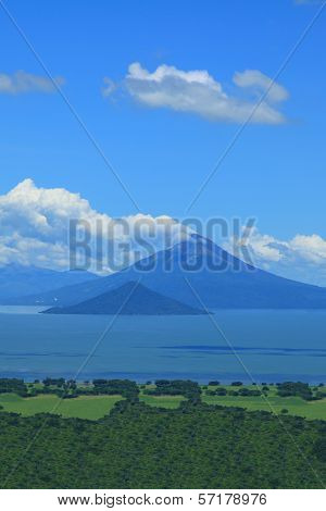 Momotombo volcano view from the shore of Lake Managua poster