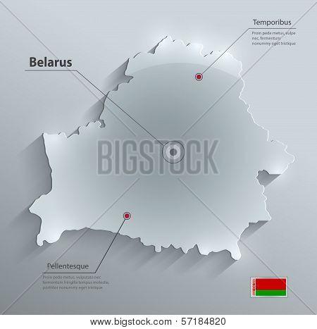 Belarus map flag glass card paper 3D vector