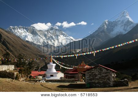 View to Ama Dablam, Everest and Lhotse from the village of Tyangboche in Himalaya, Nepal poster