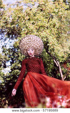 Creative Peruke. Fashionable Stylish Woman With Glamorous Hairstyle