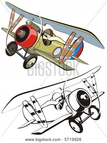 Vector cartoon biplane