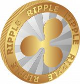isolated coin of Ripple  - clip art illustration poster