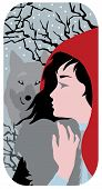 Beautiful red Riding Hood and grey wolf fantasy illustration poster
