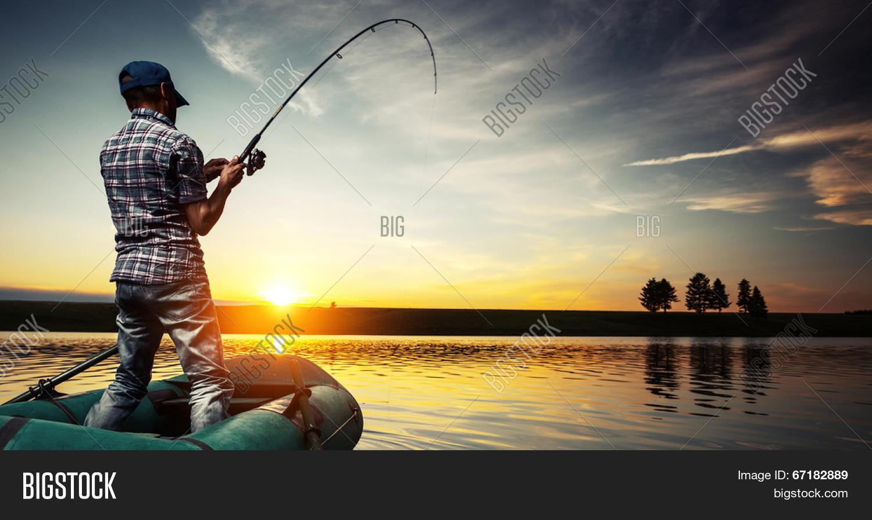 Mature man fishing boat on pond image photo bigstock for 1 man fishing boat