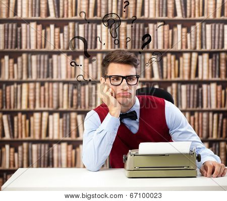 Old fashioned writer thinking with question marks over head poster