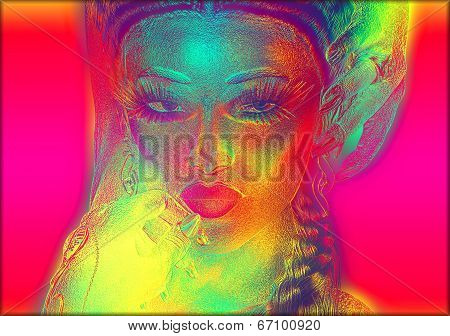 Digital art image of woman's face with abstract color effects.