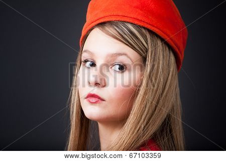 Vintage Orange Hat Portrait