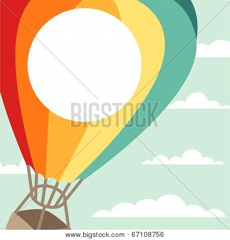 Background of hot air balloons and clouds.