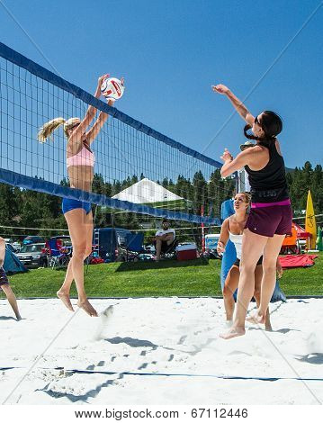 Blocking the ball in volleyball