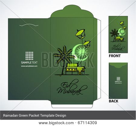 Vector Muslim Element Illustration of Malay Kampung Attap House with Flying Moon Kite Money Green Packet Design. Translation: Eid Mubarak - Blessed Feast