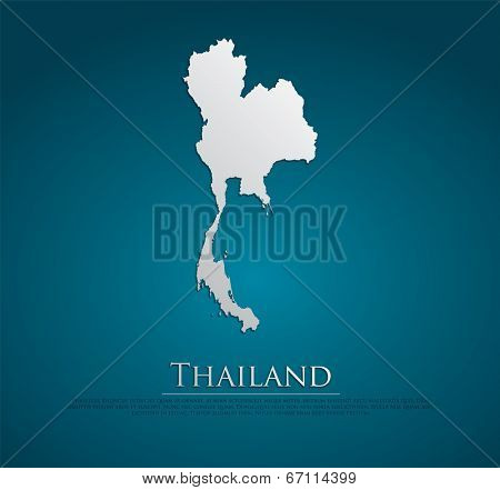 vector Thailand Map card paper on blue background, high detailed
