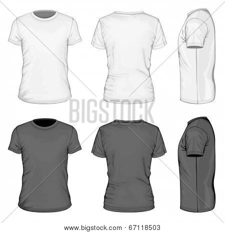 Men's white and black short sleeve t-shirt design templates (front, back, and side views). Vector illustration.