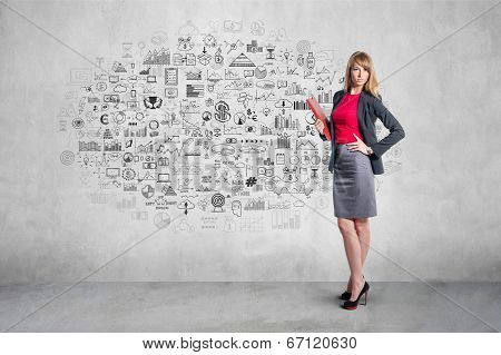 Portrait of young businesswoman with red folder gray skirt shirt classical costume, hand draw doodle