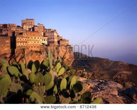 View At Hajjarrah,yemen, At Sunset
